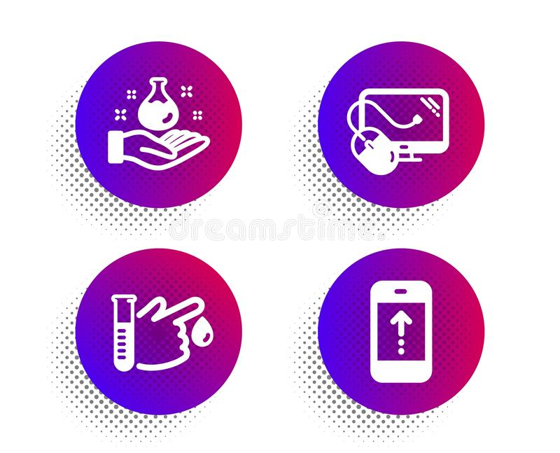Computer mouse, Chemistry lab and Blood donation icons set. Swipe up sign. Vector vector illustration