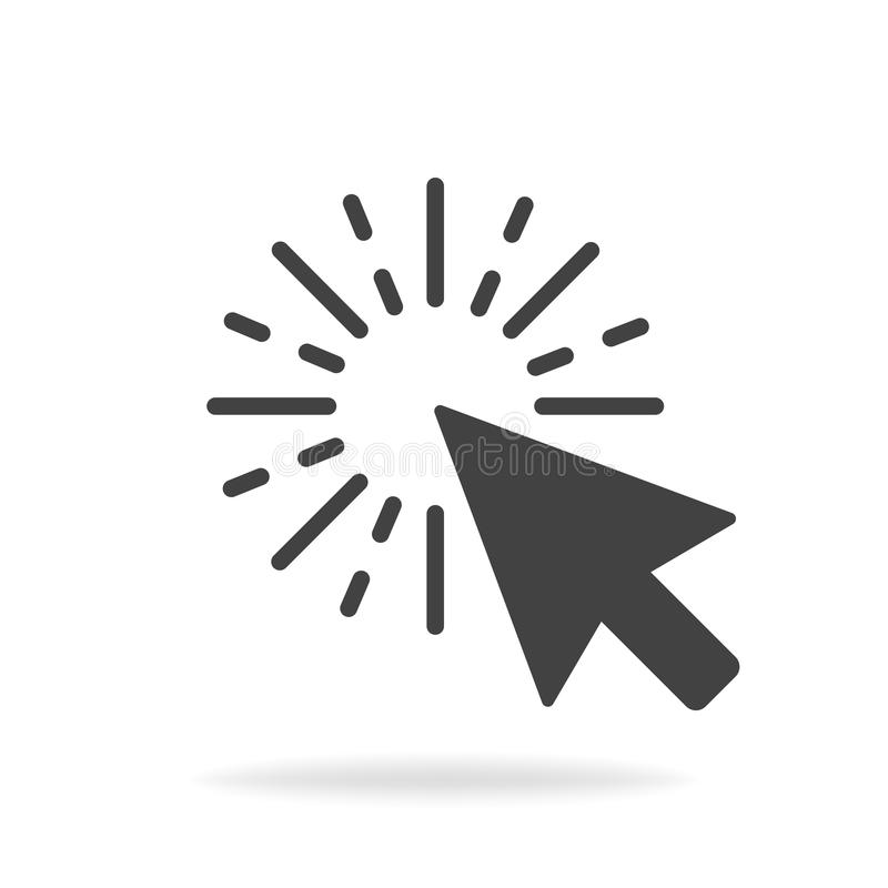 Computer mouse click cursor gray arrow icon. Vector illustration.  stock illustration