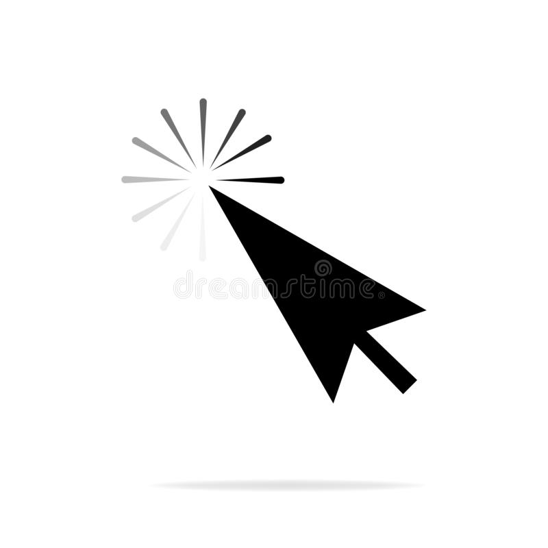 Computer mouse click cursor gray arrow icon. On a white background with a reflection of the shadow. Vector illustration.  stock illustration