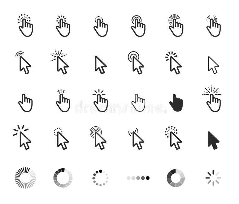 Computer mouse click cursor gray arrow icons set and loading icon. Vector illustration. vector illustration
