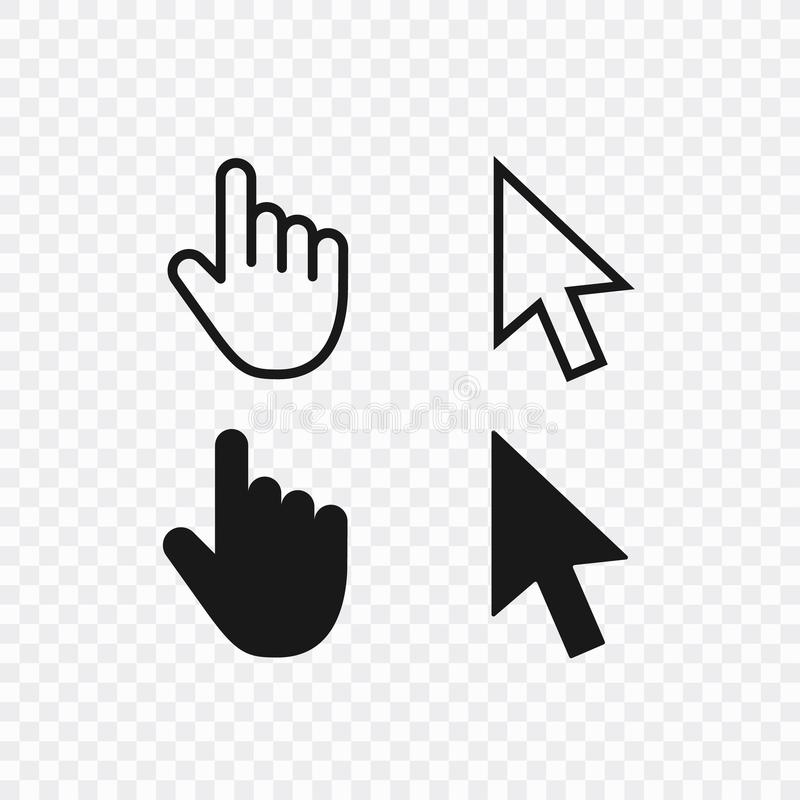 Computer mouse click cursor gray arrow icons set and loading icons. Cursor icon. Vector illustration. Computer mouse click cursor gray arrow icons set and stock illustration
