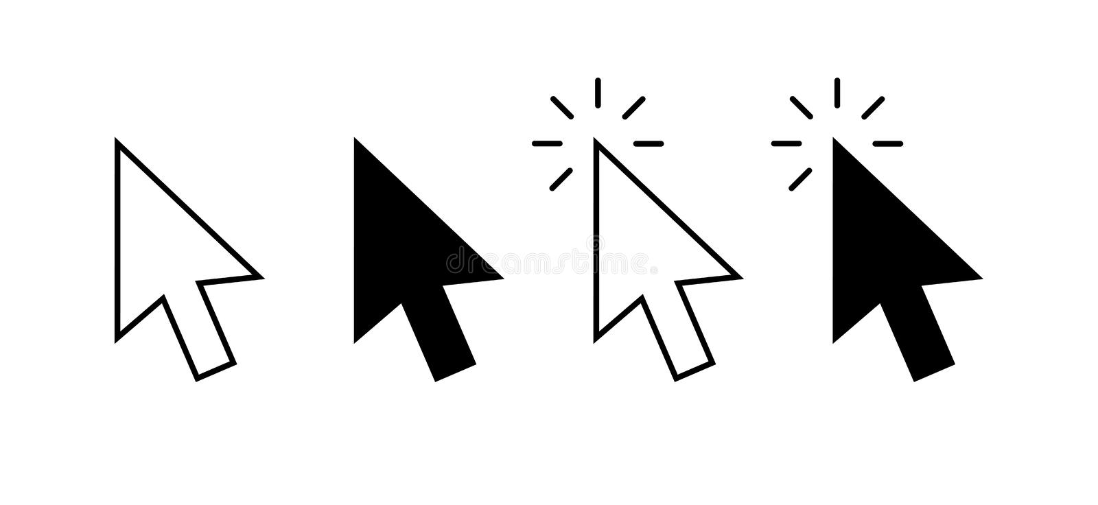 Computer mouse click cursor gray arrow icons set and loading icons. Cursor icon. Vector illustration. Mouse click cursor. Collection vector illustration