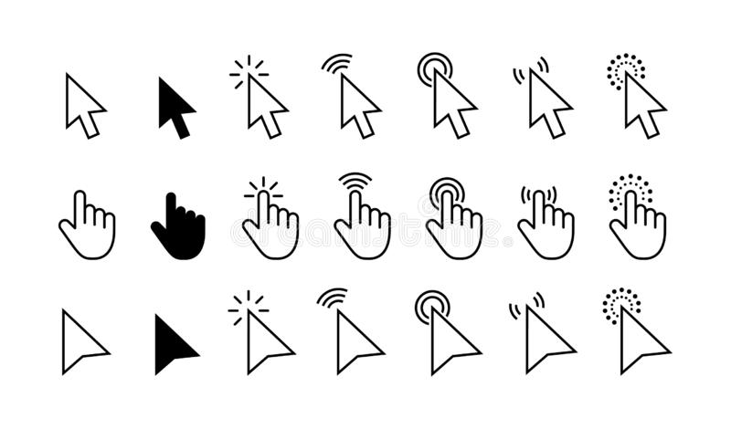 Computer mouse click cursor gray arrow icons set and loading icons. Cursor icon. Vector illustration. Mouse click cursor vector illustration