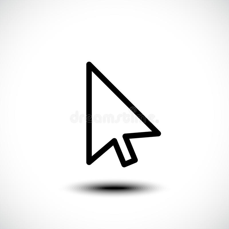 Computer mouse click pointer cursor arrow flat icon royalty free illustration