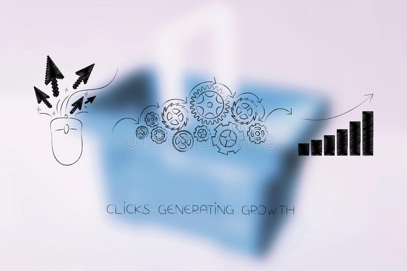 Computer mouse with clicks being processed by gearwheels into po. Digital marketing success conceptual illustration: computer mouse with clicks being processed stock photography