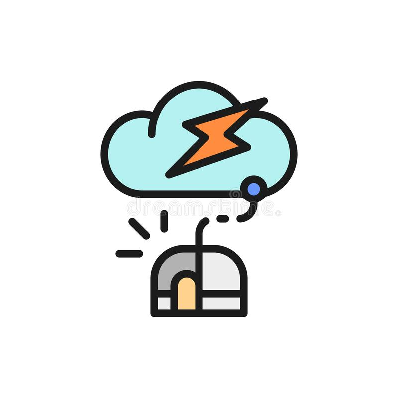 Computer mouse with cloud, server flat color line icon. Vector computer mouse with cloud, server flat color line icon. Symbol and sign illustration design stock illustration
