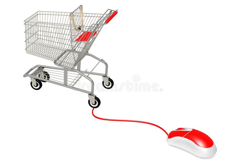 Computer mouse connect to shopping. A render artwork with white background stock illustration