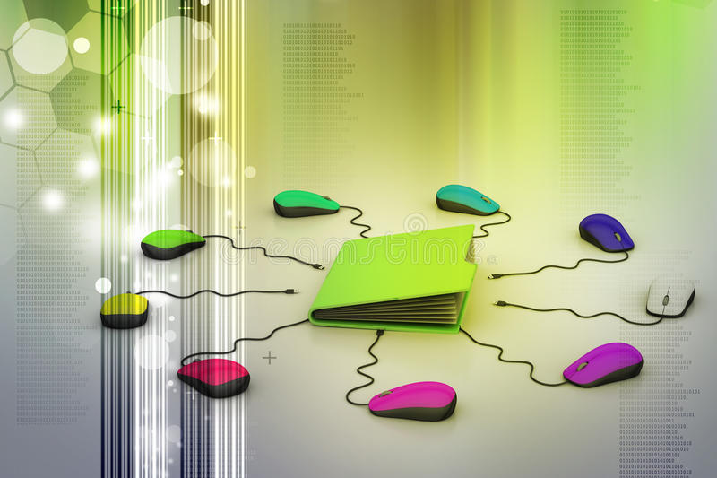 Computer mouse connected Server. In color background vector illustration