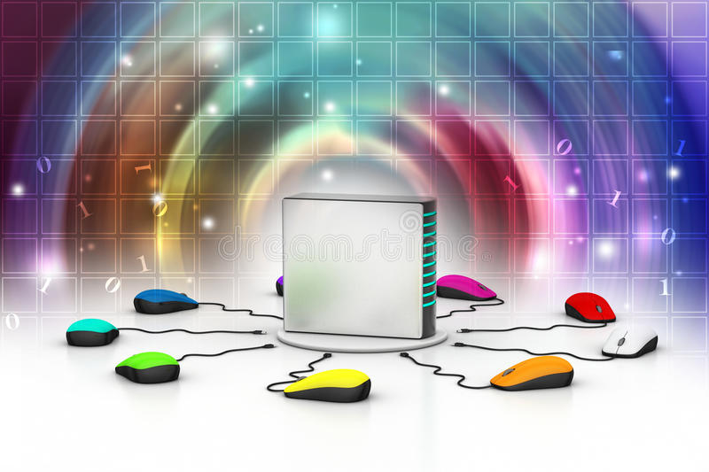 Computer mouse connected Server. In color background stock illustration
