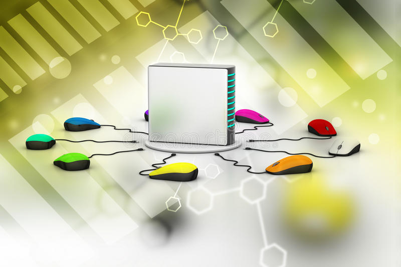 Computer mouse connected Server. In color background royalty free illustration