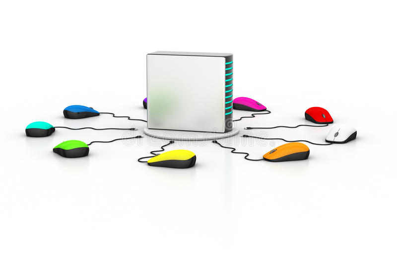 Computer mouse connected Server. In white background royalty free illustration