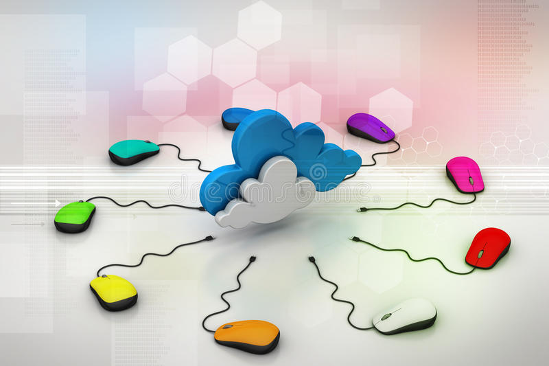 Download Computer Mouse Connected To A Cloud Stock Illustration - Image: 43660934