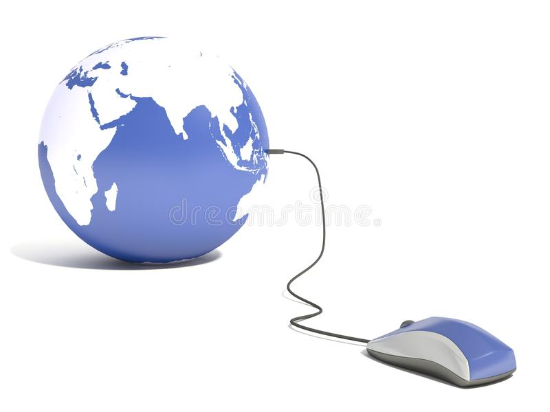 Download Computer Mouse Connected To Earth Globe Stock Illustration - Image: 38245649