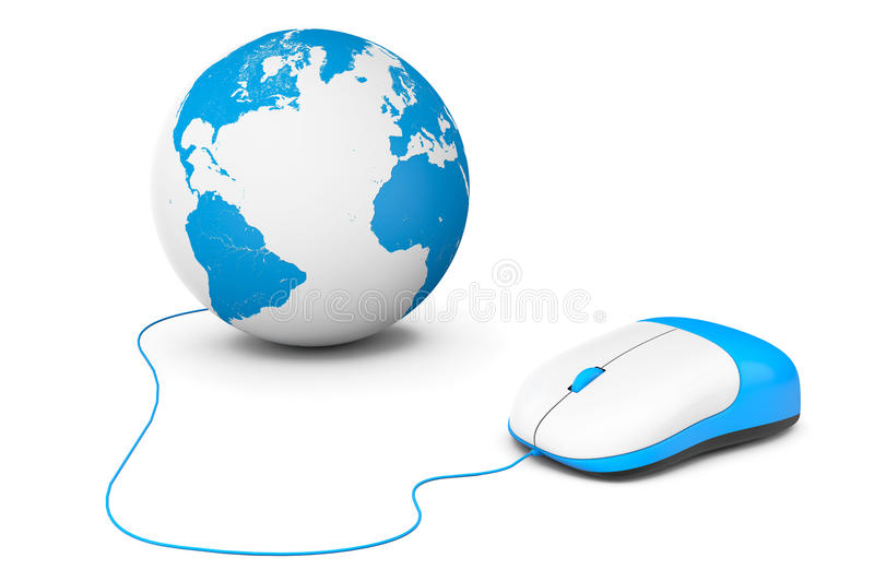 Computer mouse connected to Earth Globe. On a white background royalty free illustration