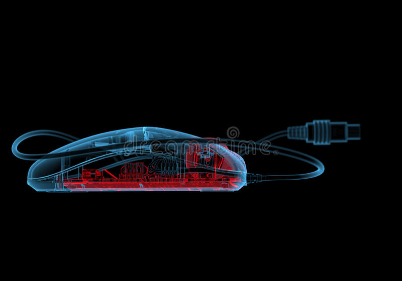 Computer mouse (3D xray red and blue transparent). Computer mouse (3D xray red and blue transparent isolated on black background stock illustration