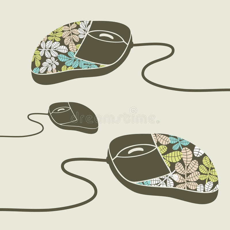 Computer mouse. Computer mouse decorated with design print royalty free illustration