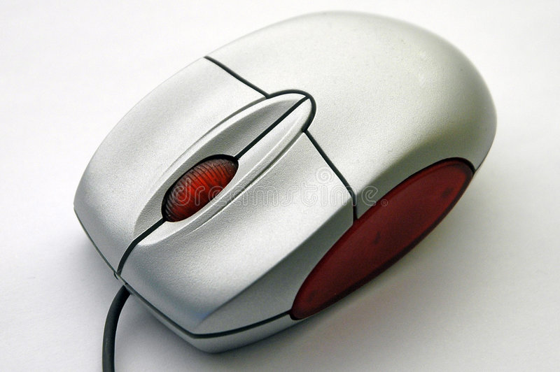 Computer mouse from diagonal view stock image