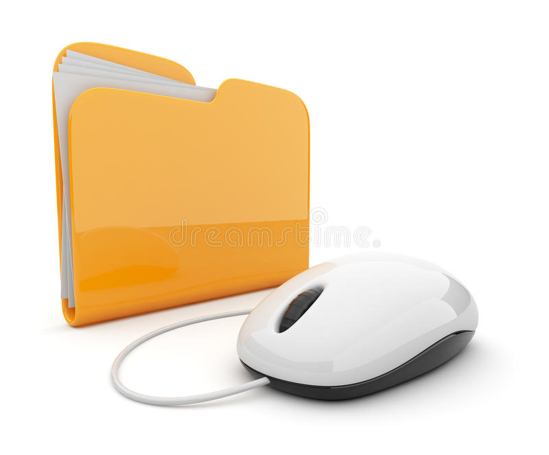 Computer mouse and folder 3D. on white stock illustration