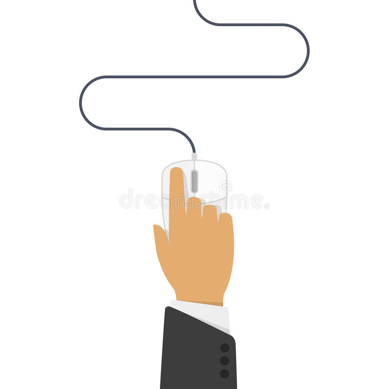 Computer mouse in hand royalty free illustration