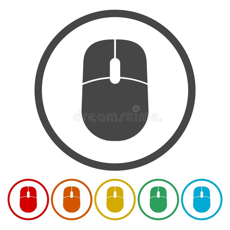 Computer mouse icon. Flat circle buttons royalty free illustration