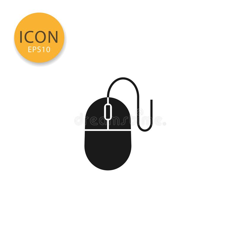 Computer mouse icon isolated flat style. Computer mouse icon flat style in black color vector illustration on white background royalty free illustration