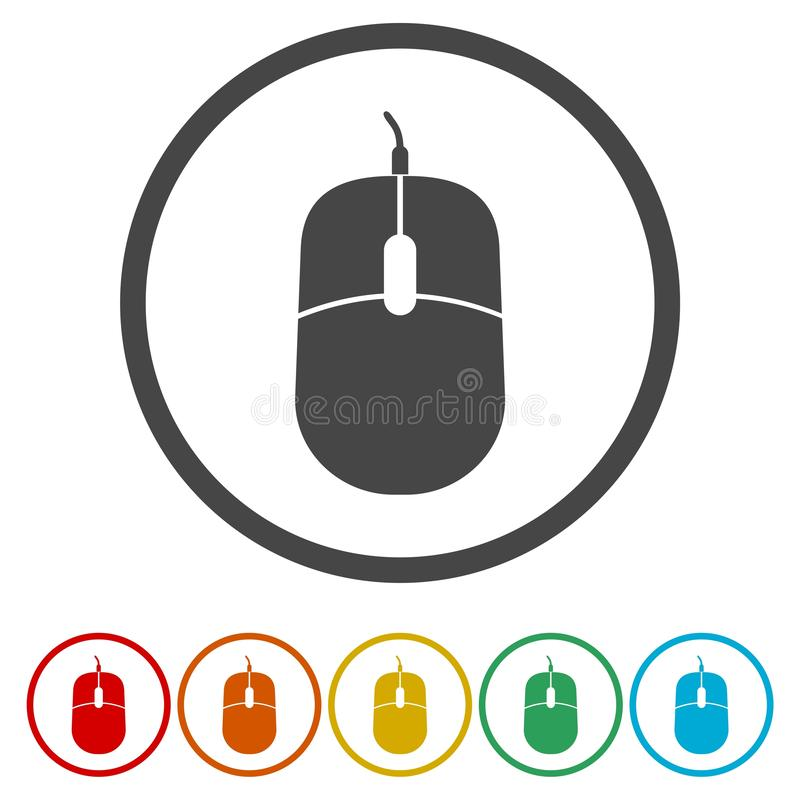 Computer mouse icon. Optical with wheel symbol. vector illustration