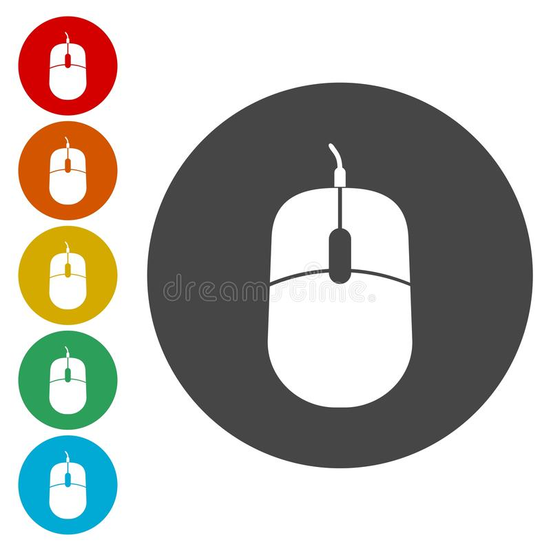 Computer mouse icon. Optical with wheel symbol. Vector icon vector illustration