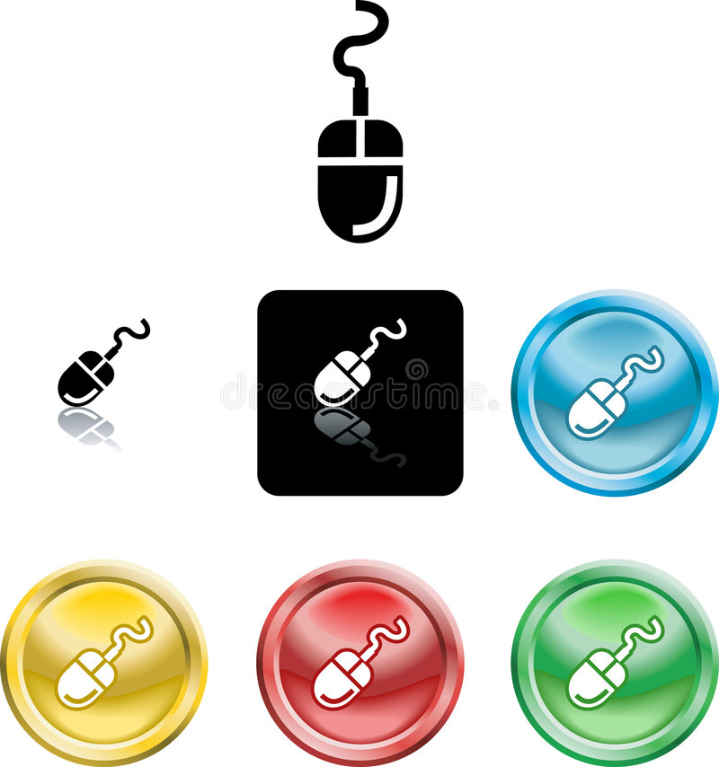 Computer Mouse Icon Symbol. Several versions of an icon symbol of a stylised computer mouse
