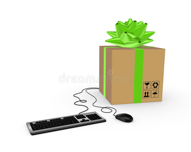 Computer mouse, keyboard and carton box. Isolated on white.3d rendered royalty free illustration