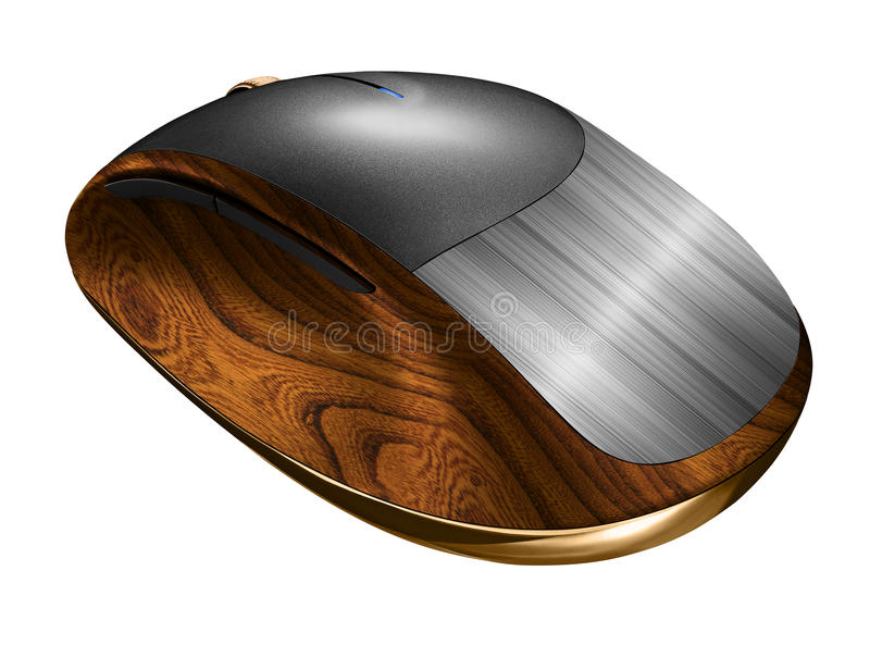 Computer mouse. The mouse is made of metal and wood on a white background stock illustration