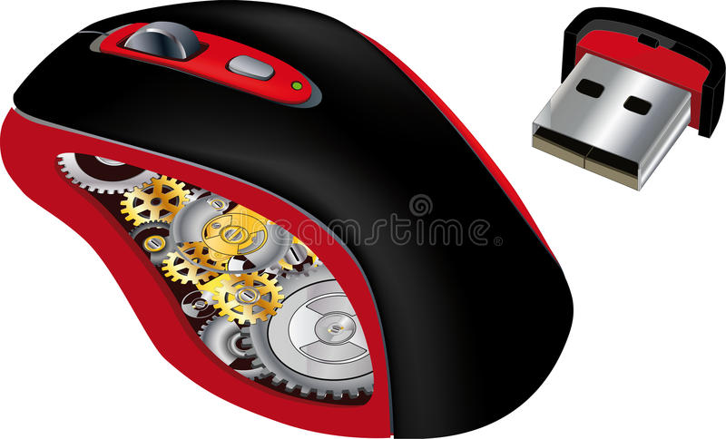 Computer mouse and the mechanism. Web wheel work stock illustration