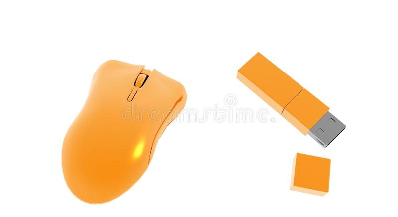 Computer Mouse and Memory Stick stock photos