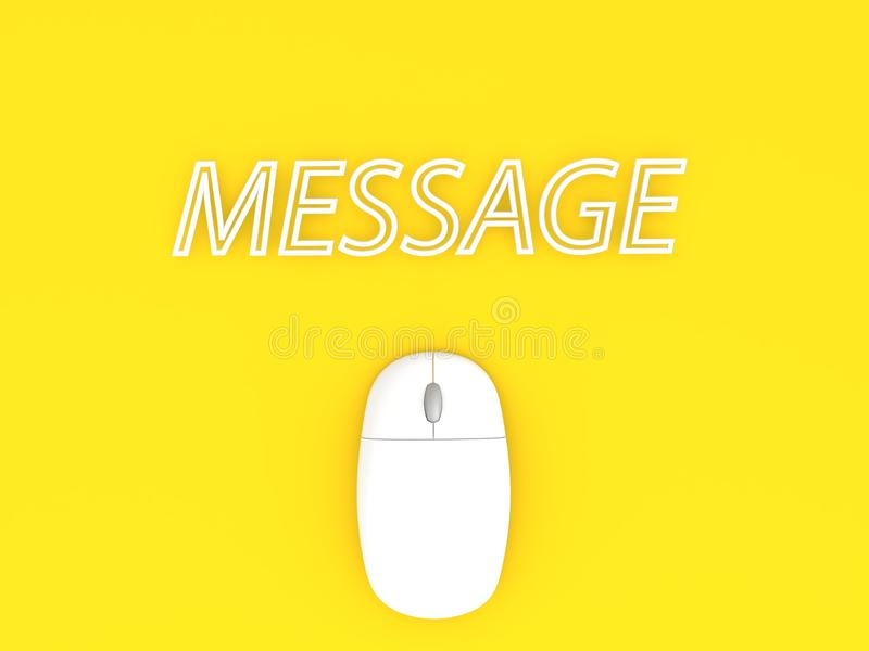 Computer mouse and message on a yellow background. royalty free illustration