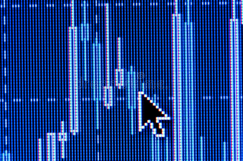 Computer mouse pointer on stock chart. Computer mouse pointer on a stock business chart. Macro photo royalty free stock photos