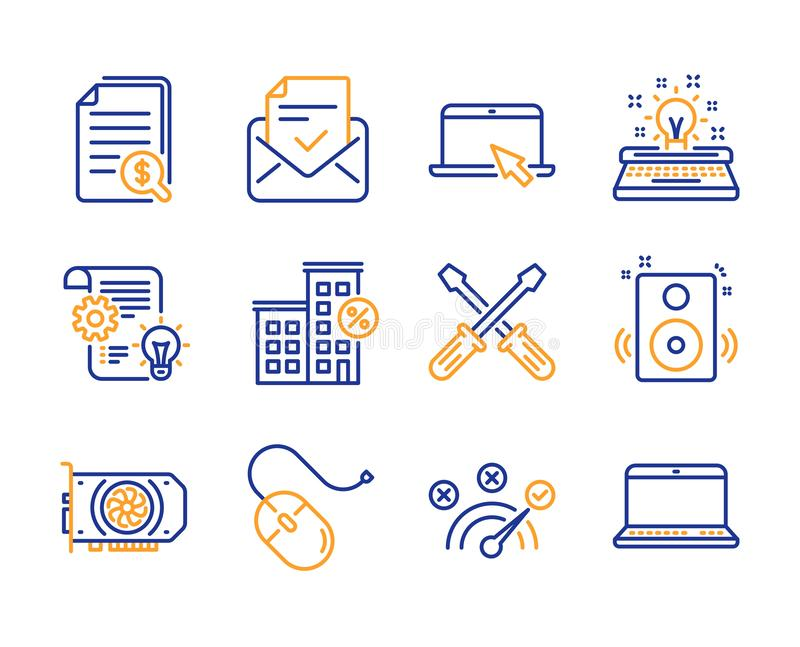 Computer mouse, Portable computer and Approved mail icons set. Gpu, Cogwheel and Correct answer signs. Vector. Computer mouse, Portable computer and Approved royalty free illustration