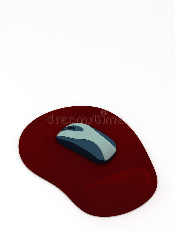 Computer mouse on red pad. With ground reflection royalty free illustration