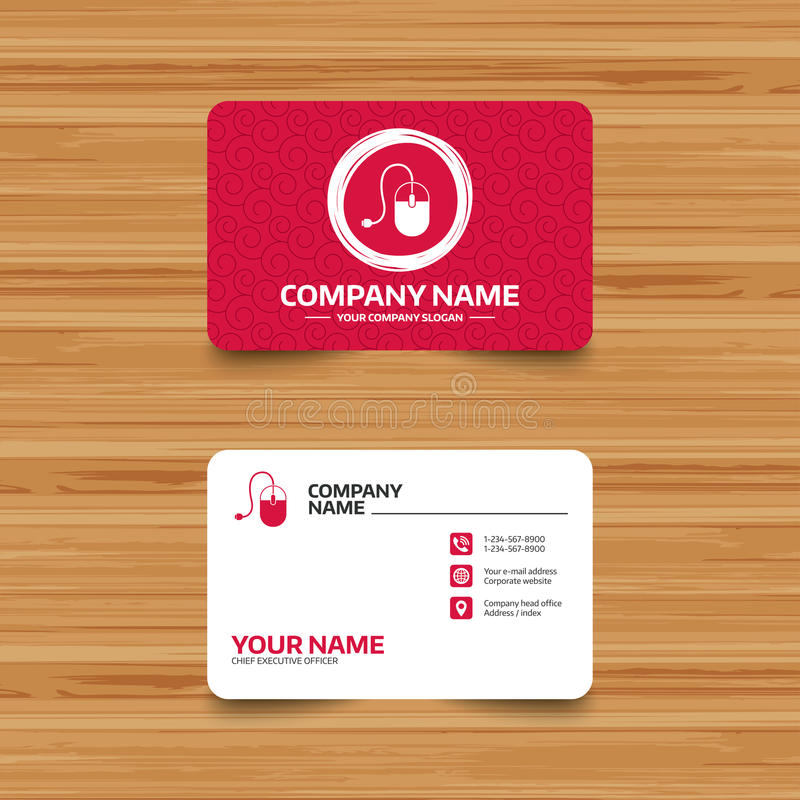 Computer mouse sign icon. Optical with wheel. Business card template with texture. Computer mouse sign icon. Optical with wheel symbol. Phone, web and location royalty free illustration