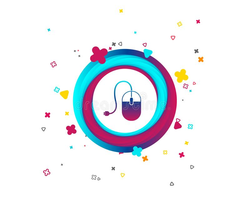 Computer mouse sign icon. Optical with wheel. Computer mouse sign icon. Optical with wheel symbol. Colorful button with icon. Geometric elements. Vector royalty free illustration