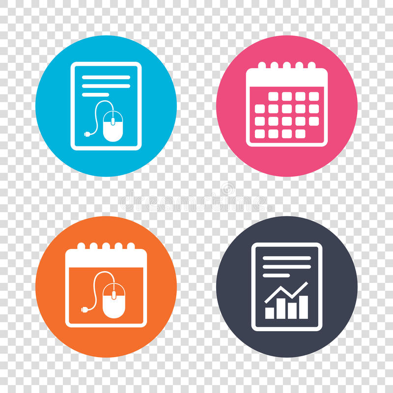 Computer mouse sign icon. Optical with wheel. Report document, calendar icons. Computer mouse sign icon. Optical with wheel symbol. Transparent background stock illustration