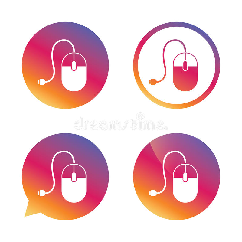 Computer mouse sign icon. Optical with wheel. Computer mouse sign icon. Optical with wheel symbol. Gradient buttons with flat icon. Speech bubble sign. Vector royalty free illustration