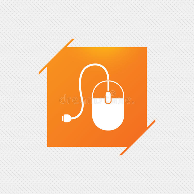 Computer mouse sign icon. Optical with wheel. Computer mouse sign icon. Optical with wheel symbol. Orange square label on pattern. Vector royalty free illustration