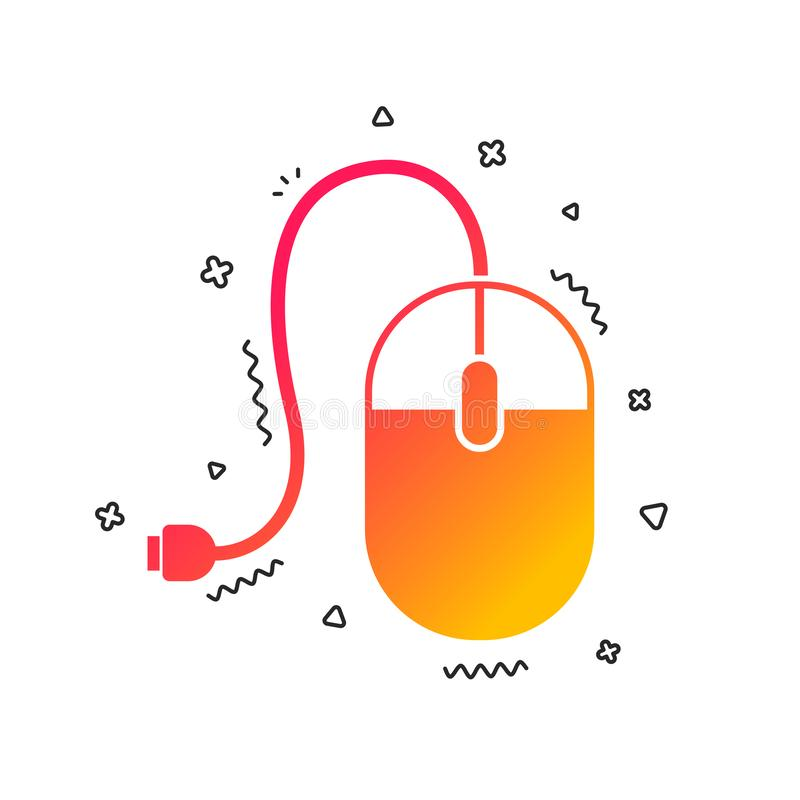 Computer mouse sign icon. Optical with wheel. Vector. Computer mouse sign icon. Optical with wheel symbol. Colorful geometric shapes. Gradient mouse icon design stock illustration