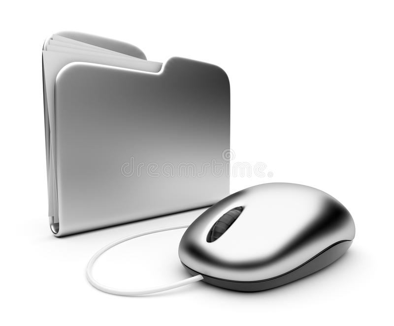 Computer mouse and silver folder. 3D royalty free illustration