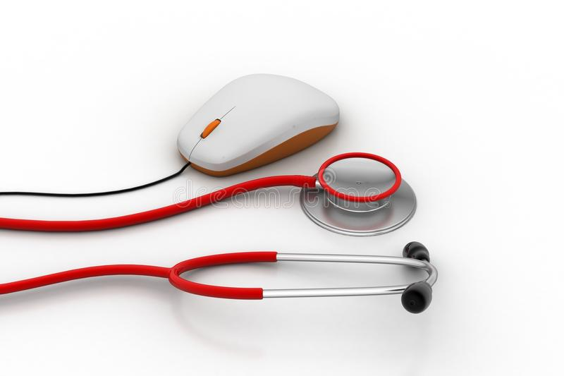 Computer mouse with stethoscope. In white background vector illustration