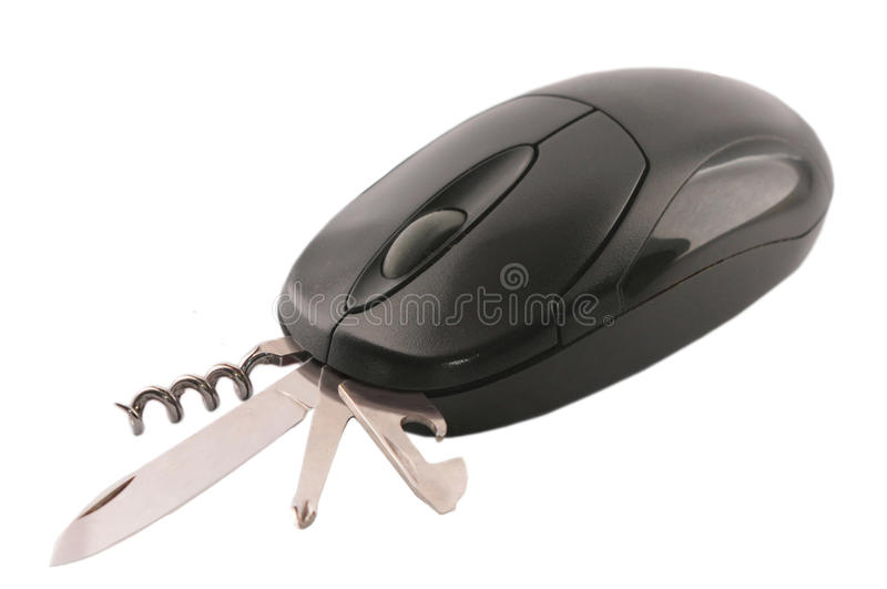Computer mouse swiss knfie stock photo