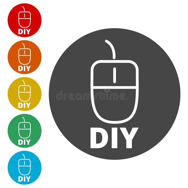Computer mouse with the text diy do it yourself icon stock vector computer mouse with the text diy do it yourself icon simple vector icons set solutioingenieria Choice Image