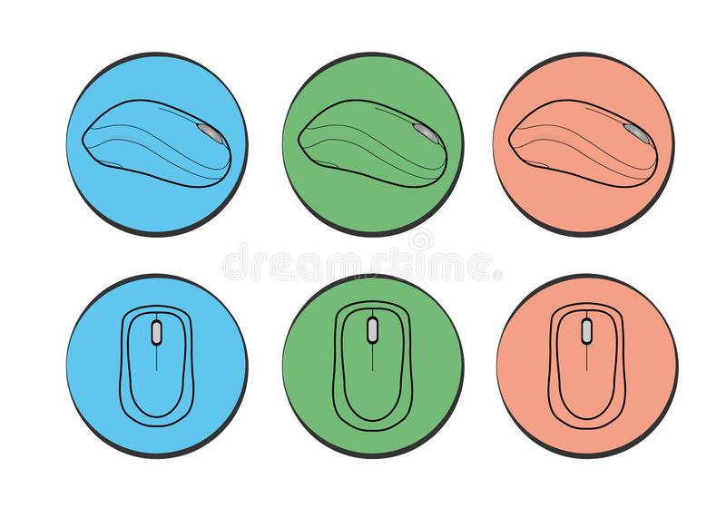 Computer mouse vector set. Icons stock illustration