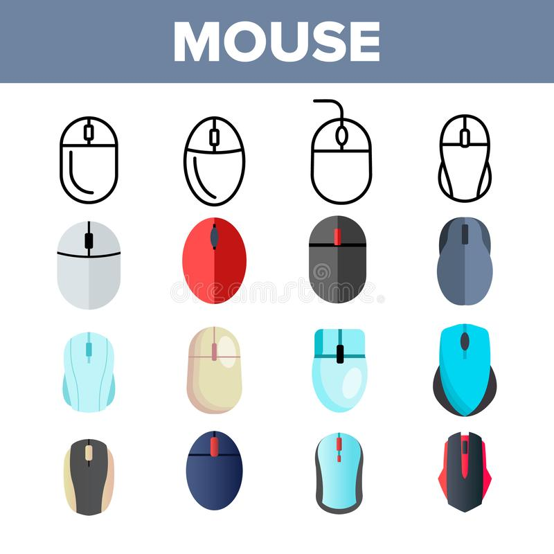 Computer Mouse Vector Thin Line Icons Set. Mouse, Computer Device, Gaming Instrument Linear Pictograms. Modern, Optical, Wireless Equipment with Scrolling vector illustration