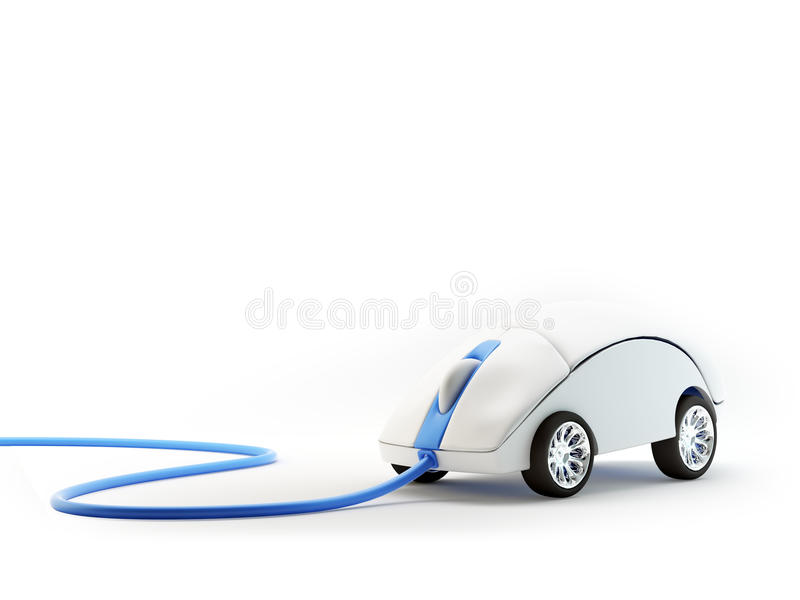 Computer mouse with wheels. Internet speed concept royalty free illustration