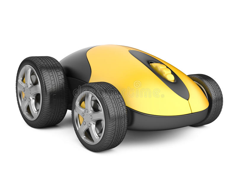 Computer mouse with wheels. 3d image isolated on a white vector illustration